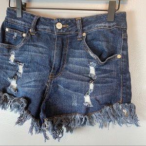 Altar'd state cut off fringe denim jean shorts 27